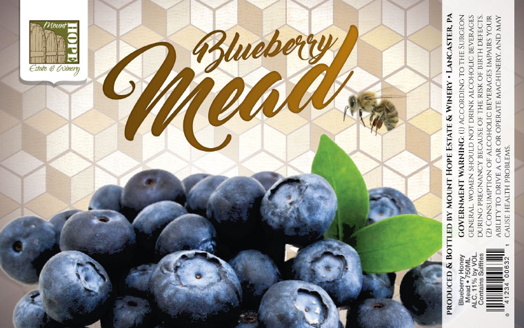 Mount Hope Blueberry Mead Label