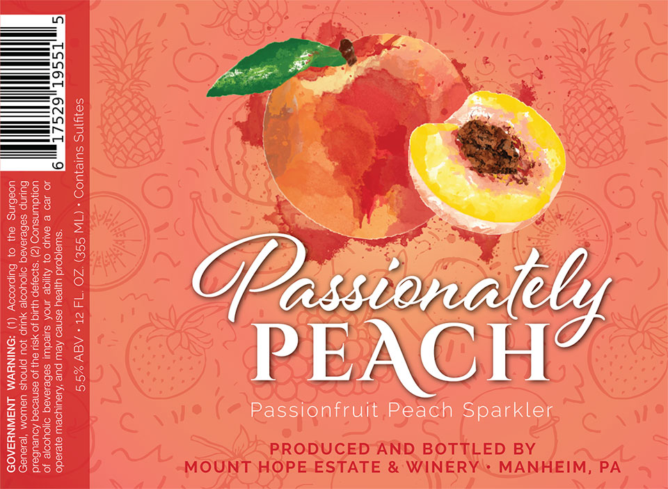 Passionately Peach Wine Label
