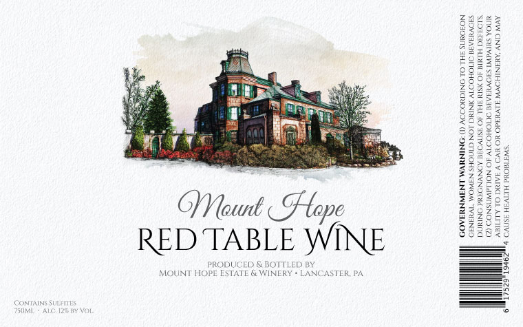Mount Hope Red Table Wine Label